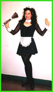 A french maid singing telegram is a fun way to clean in nyc!  Lots of comedy entertainment in this funny birthday singing telegram, where Delilah is dressed as a french maid.