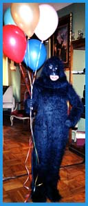 Send a gorilla singing telegram for a singing telegram experience your friend or boss will never forget!  Delilah is dressed up as a friendly gorilla for this funny birthday singing telegram in manhattan.